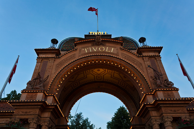 COPENHAGEN. TIVOLI ENTRANCE BY NIGHT.