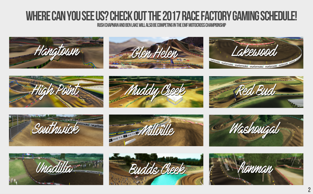 Where can you see us? Check out the 2017 Race Factory Gaming Schedule!