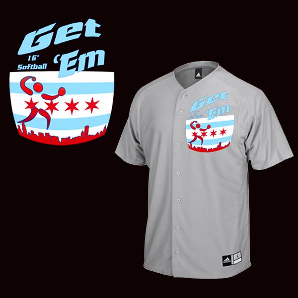 """Jersey design for Chicago's Get """"Em softball team"""