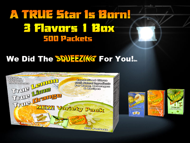 NEW True Lemon, True Lime, True Orange 500 Packet Variety Pack