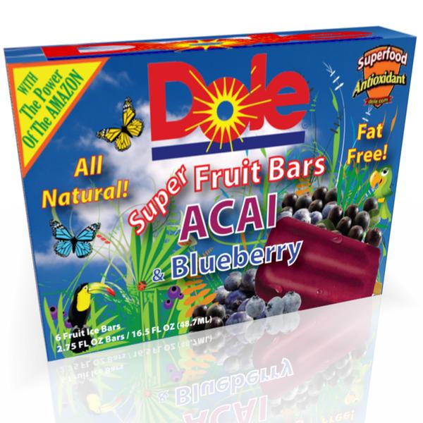 Packaging for frozen fruit ice bars.