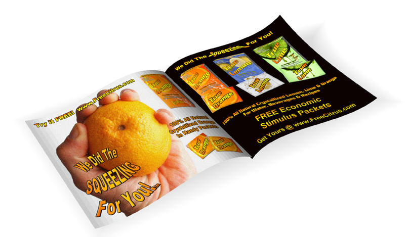 Print ads for True Lemon, Lime, Orange crystallized citrus