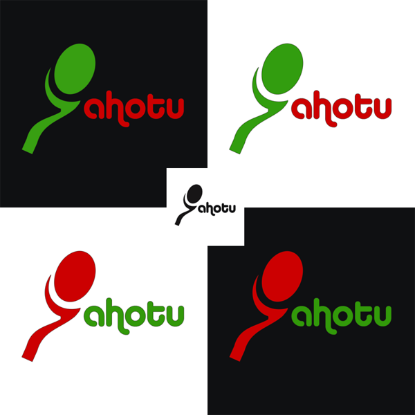 Four versions of Ahotu logo.  Clean and simple, yet striking.   Icon works well with the text or stand alone.  Logo works well on light and dark colored backgrounds, in full color and B&W.