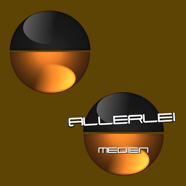 Allerlei Medien (Media in English) logo with text and without.