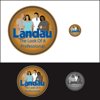 Hand drawn illustration for Landau Uniforms logo.