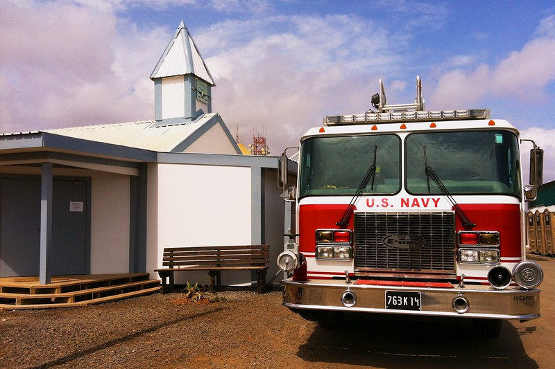 """Day 209 -So I was on my way to get a cold pop and driving past the chapel. I saw a firetruck with it's lights on and I said, """"Lord Jesus there's a fire!""""  So I had to stop and take a photo.  -APRIL 2"""