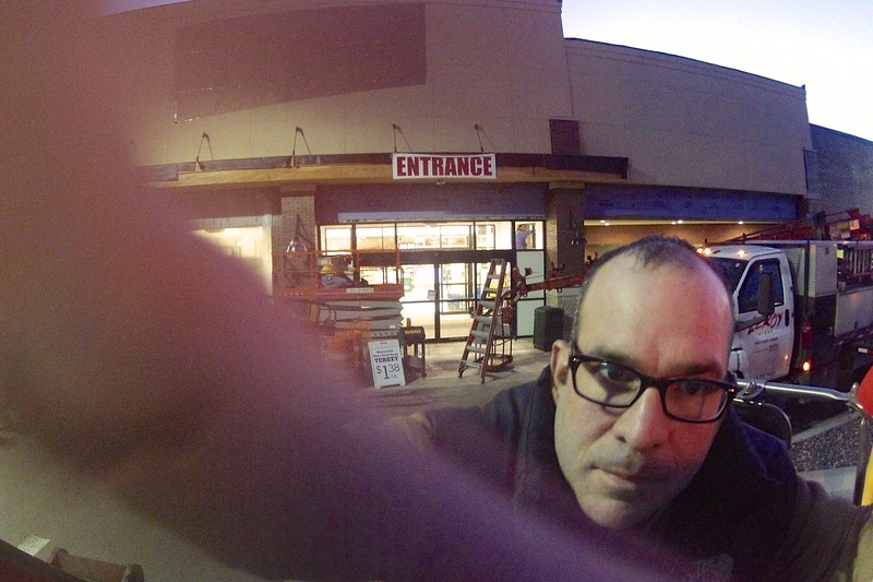 Day 072 -Well if you have used a GoPro before, then you always get a fun first shot.   I was setting it up for a time lapse video of a sign being installed.  I thought this was fun enough for today's photo. -NOVEMBER 16