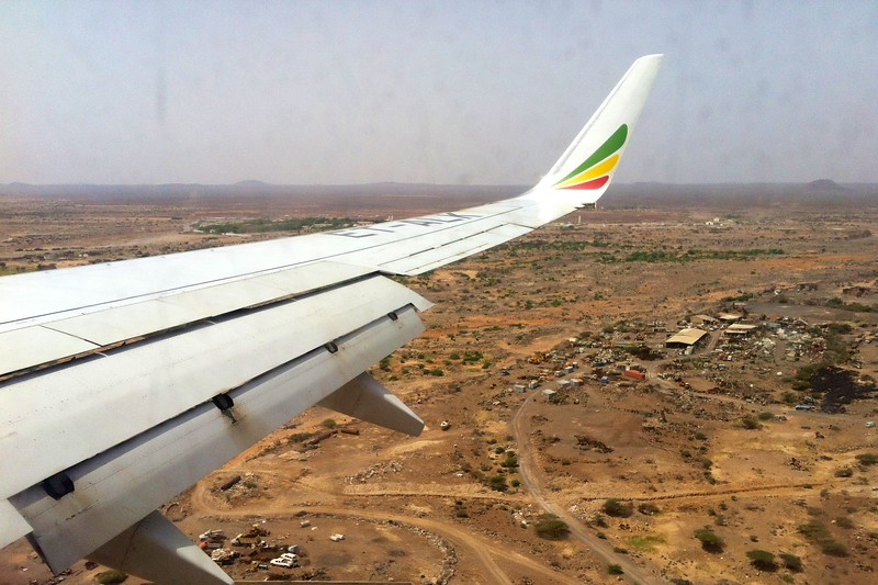 Day 258 -The final approach into DJibouti.  Africa is quite a different than Italy to say the least.  It was over 100 and let's just say the standards in airport restrooms aren't quite the same.  Aren't you glad I didn't post that photo? -MAY 21
