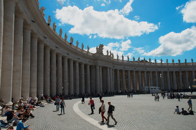 Day 254 -Italy has always topped my list of places I wanted to go to, and it finally became a reality.  So many to choose from today, but I had to go with St. Peter's Square, to start things off.  What a beautiful place with so much going on. -MAY 17