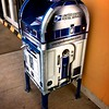 Day 154 <br /> R2:  beep boap beep beep<br /> Me:  How did you turn into a mailbox you ask.  I think it's because the U.S. Postal Service has a lot of extra money with all of the profit they're turning these days.<br /> R2:  beep boap boop boap<br /> Me:  I liked it better when you could move too and when neither of us knew who Jar Jar Binks was. -FEBRUARY 6