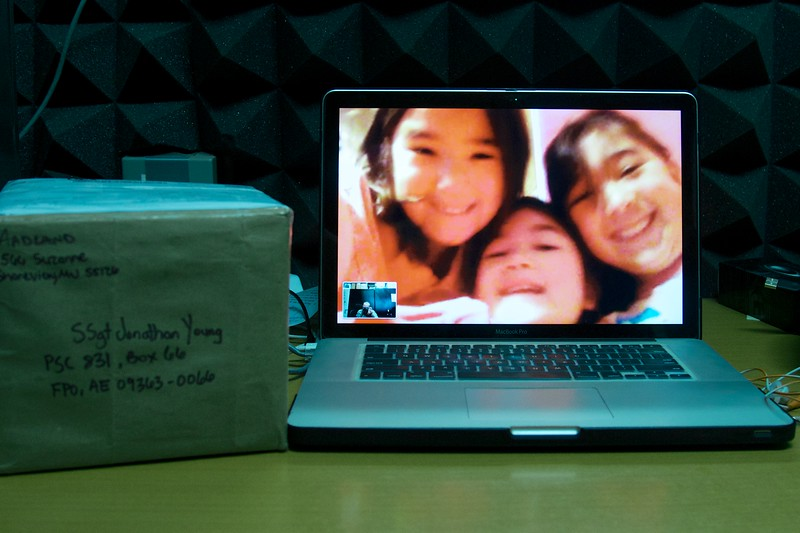 Day 241 -Thanks to technology I was able to photograph three of my favorite people.  This also marks my first international photo spanning two continents.  I got a package from the girls and their dad, so I waited to open it until we could FaceTime.  Special thanks to Emelia, Nya, Sosi, and Justin for making my week with all the goodies. -MAY 4