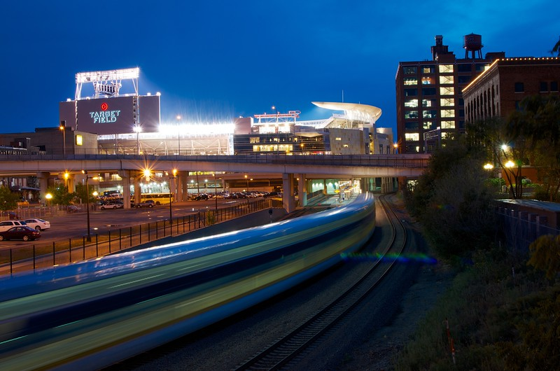 Day 007 -I had a delightful night in Minneapolis.  As I was walking down the street I got this great view of Target Field.  I wished for a train and then it came down the tracks. -SEPTEMBER 12