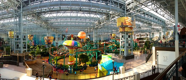 Day 317 -BACK IN AMERICA!  What better place to go than America's biggest mall.  On top of that I got to try the panoramic mode on my new iPhone.  Best of all I got to spend time with my friends for the day, before more traveling. -JULY 19