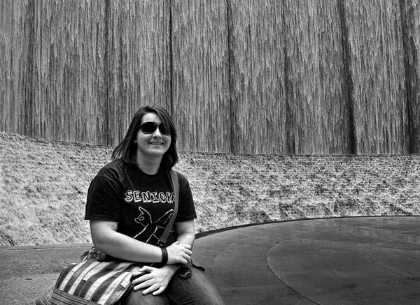 Lauren at Williams Tower Waterfall. May 2010 Black and White