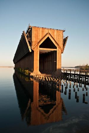 Iron Ore Dock - Church Reflection - Presque Island, Michigan - May 2010