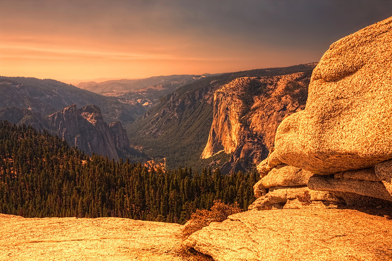 Sentinel Dome,Yosemite National Park<br /> A nice vigorous mile hike to get to the top of Sentinel Dome to catch the sunset light of this 8,122 ft high hill. From this high point you can see 360 degrees around all of Yosemite. Quite invigorating and worth the trip.