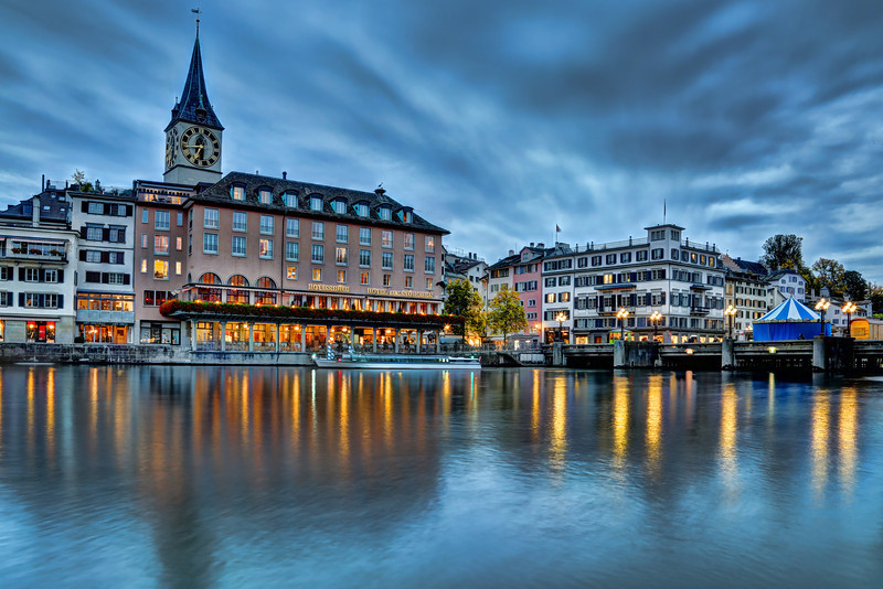 Old Town Zurich along River Limmat, Switzerland
