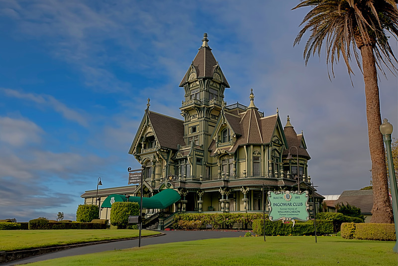 "The Carson Mansion-Ingomar Club, Eureka, California-One of the greatest examples of late 1800′s Victorian-style architecture, the Carson Mansion has been renovated back to it's original character and is owned by the Ingomar Club. A gentlemen's club of high local society. Another words-no woman allowed! Now I don't pretend to know what goes on in a gentleman's club, but I remember the scene from the ""Titanic"", where the men got together for drinks and cigars, discussing how to take over the world. A lot of money has been spent to keep this glorious estate looking as fabulous as it is.<br /> <br /> The Victorian era must have been an amazing time to be alive. Back then people thought they were at the pinnacle of invention. I once read that the government back then talked of closing the patent office, because everything that was ever to be invented had already been invented. Boy were they wrong!"