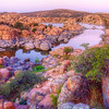 """The Dells"" at Sunset, Prescott, Arizona<br /> The neat thing about HDR, is capturing a moment as your percieved it, just as you remember it. This photo of a setting sun over ""The Dells"" at Watson Lake, pretty much takes me there, as I saw it, when I was there. Pictures that are not HDR, do not always do that for me. Everyones different in that regard, but after it's all said and done, there will never be anything quite like actually being there. For a photographer or tourist, Watson Lake in Prescott, Arizona, is worth the visit."