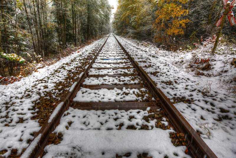 """Snowy Tracks along the Romantic Road in Germany<br /> Can anyone see the snow coming down? I get a kick out of photographing tracks. This one caught my attention because of the snow coming down and I'm always looking for """"leading lines"""" in photography. The lines of the tracks lead you through the photo, down the tracks to where they look like their eventually touching. I put the tripod as low as it would go, and balanced the tracks in the middle. Look for """"leading lines"""" in nature and you will probably find yourself creating a nice interesting photo to share."""