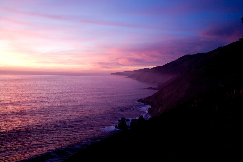 Sunset over Pacific Coast Highway near Monterey, California<br /> We were down shooting video and stills of Julia Pfeiffer State Park as the sun was setting. As dusk fell we headed north to Monterey, only to be stopped by this after-glow of amazing sunset colors. We just had to pull over and take advantage of the moment. This coastline near Big Sur, California has got to be one of the world's most scenic drives
