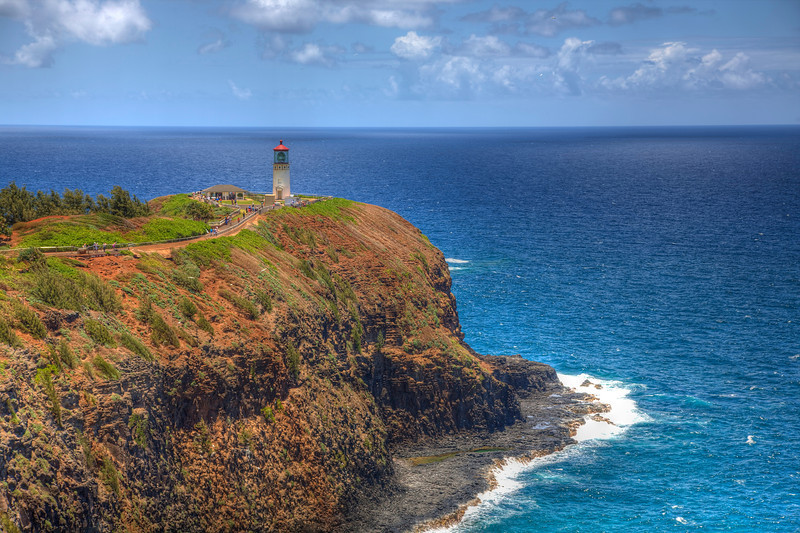 Kilauea Lighthouse, Kauai-One of the most photographed spots on Kauai, is the Kilauea Lighthouse. I've stopped by here a number of times trying to hit on the perfect clear day. This shot kind of gave me what I was looking for. I shot it as an HDR to cut down on the deeper shadows that were in the rocks. It pretty much went as planned. Definitely a great stop if you're touring the coast of Kauai.