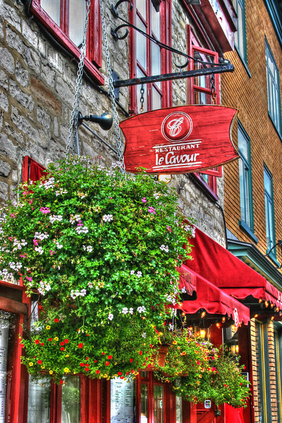 Restaurant La Cavour in Old Town Quebec City,<br /> A great place to get that old time European town feeling close to home is, Quebec City in Canada. It's French and so much about the town makes you think you are in France, which is great and alot cheaper to get to, than France itself. HDR photography is alot of fun there. You simply park the car and do it all on foot.
