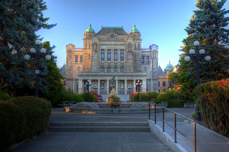 Parliament Building, Victoria, British Columbia<br /> What a beautiful city! In contrast to our 1st visit some years ago. We arrived in gloomy weather and went straight to a B&B we had arranged online, by-passing the city altogether. Boy, did we miss out. The downtown area by the boat harbor is bustling with parks, shopping,hotels, restaurants and lots of history and lots of people. My wife was wondering how we missed all this our 1st visit. We would have had a whole different feeling about the place. Now we plan to come back and spend more time discovering the area.<br /> <br /> The Parliament Building lights up at night and is a great spot to just hang out, people watch and photograph.