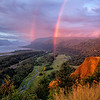 Rainbow over Columbia River Gorge, Oregon