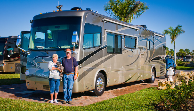 Donna Shank; Florida; Frank Shank; Myakka River Motorcoach Resort; RV; Smoky; contact card; dog; friends; motor home; motorcoach; rv sites; travel; travel card; travel contact card