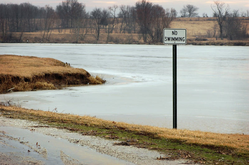 """<div align=""""center""""> <h3>As a true redneck would say, """"Here's Your Sign!""""</h3>  Very Brrrrrrrrr Icy No Swimming Warning.<br /> Hmmmm... Like Who's Gonna Swim Now Anyhow??? HELLO! </div>"""