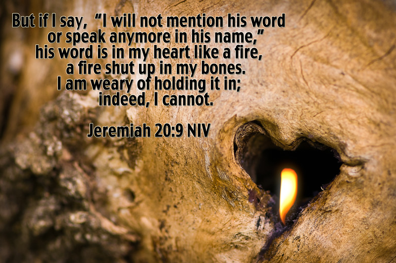 bible, bone, burning fire shut up in my bones, Co-Bear, cobear, fire, heart, Hearts Afire, His name, His Word, Jeremiah, Jeremiah 20:9, scripture, speak, word