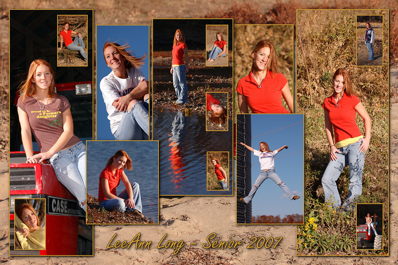 "Today's Pick - A collage I created from a recent senior photo session.<br /> 2 more collages and all her session photos (in-studio and outdoor) can be seen at:<br />  <a href=""http://www.inspiringdesigns.net/gallery/2220180"">http://www.inspiringdesigns.net/gallery/2220180</a>  <br /> <br /> I'm currently using a dial-up internet so it takes an eternity it seems to upload images which is why I'm behind on adding Daily pics and I simply can't upload anymore tonight. Yes, I live in rural boonies but with the exception of technology being so dreadfully slow I absolutely love our location.  :-) I used to have high speed wireless but because it only worked part of the time (if that) and practically every time I'd try to upload a photo the connection would fail (stall out) before the upload would complete I was so frustrated I couldn't take it anymore. Uuuuuggghhhh - frustrating is saying it very mildly!!! They tried several times to fix the connection and we even put up a 45' pole to mount the antennae on but all that did was make it worse. Finally after waiting for several months (again) I decided the tremendous frustration that stupid little worthless wireless was causing me simply wasn't worth 2 cents and told them to come pick it up. Although I can only upload about 30 pictures per day that's easily less frustrating and way more than I was getting with the current high speed connection unless of course I babysat the upload continuously in order to constantly re-start the upload and connection the entire time. At least with dial-up the upload succeeds every single time and I'm connected every time I sit down and hit the button :-) Maybe someday our area will get more competition and satisfactory high-speed service."
