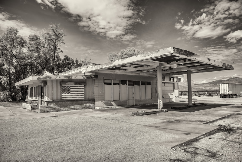 Abondoned service station in Borrego Springs, CA