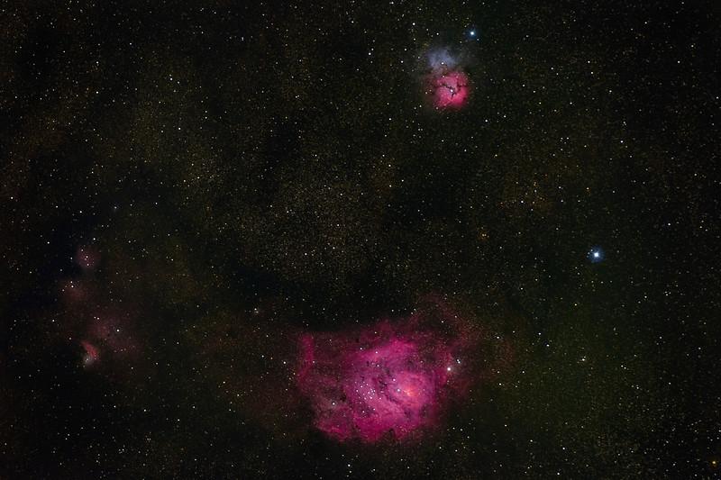 Lagoon and Trifid Nebulae M8 and M20 08092021