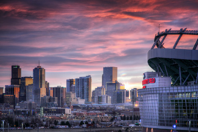 Denver<br /> <br /> Skyline Sunrise with Stadium