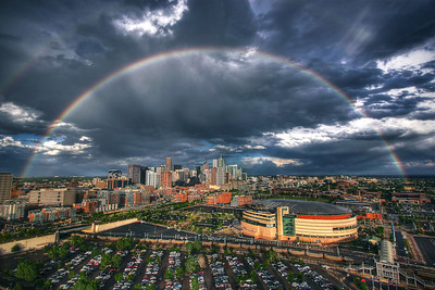 Denver  Double Rainbow over Skyline.