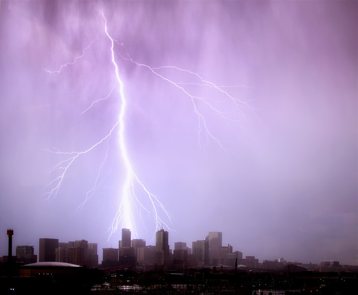 Denver<br /> <br /> Lightning over skyline taken June 23, 2013