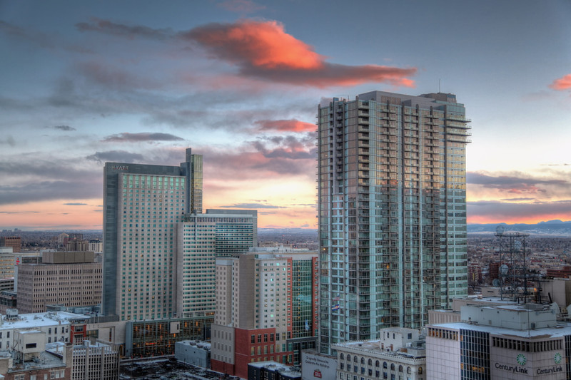 Denver<br /> <br /> 16th Street Mall Skyscrapers at sunset