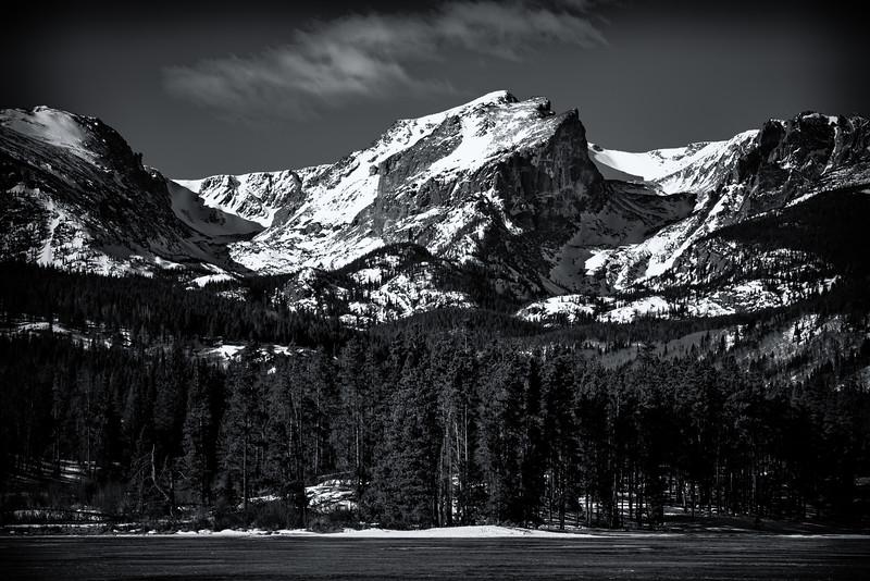 Hallett Peak over Sprague Lake (Rocky Mountain National Park)
