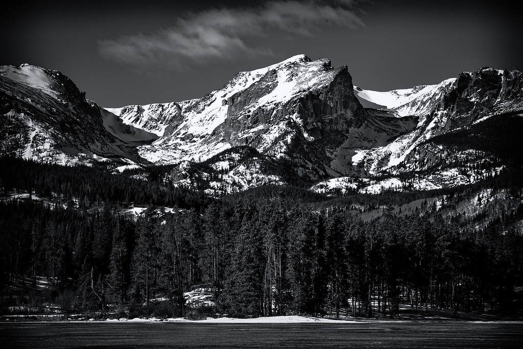 Hallett Peak over Sprague Lake (Rocky Mountain National Park)
