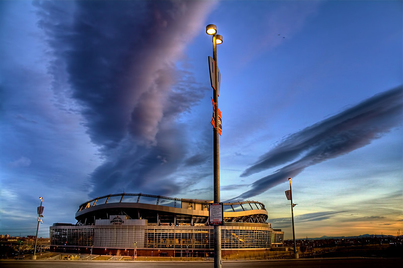 Denver<br /> <br /> Invesco Field besieged by some very odd clouds.