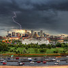 Denver<br /> <br /> Daytime Lightning captured at rush hour over skyline...