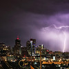 "Denver<br /> <br /> ""T"" Lightning over the evening Denver skyline..."