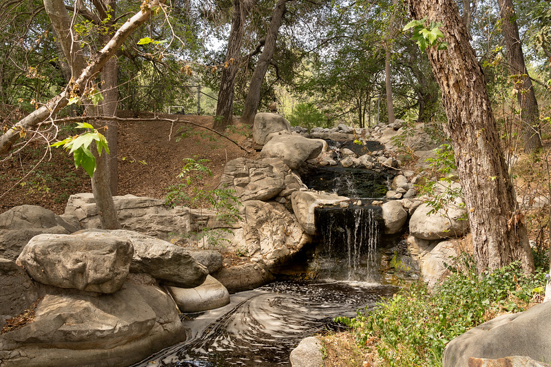 Small waterfall in a creek at Descanso Gardens