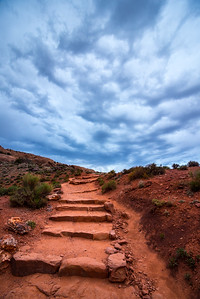 Delicate Arch Sandstone Stairway In Stormy Weather - Moab - Utah