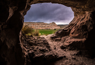 Sandstone Cave In Stormy Weather - Moab - Utah