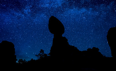 Balanced Rock Silhouette And The Milky Way