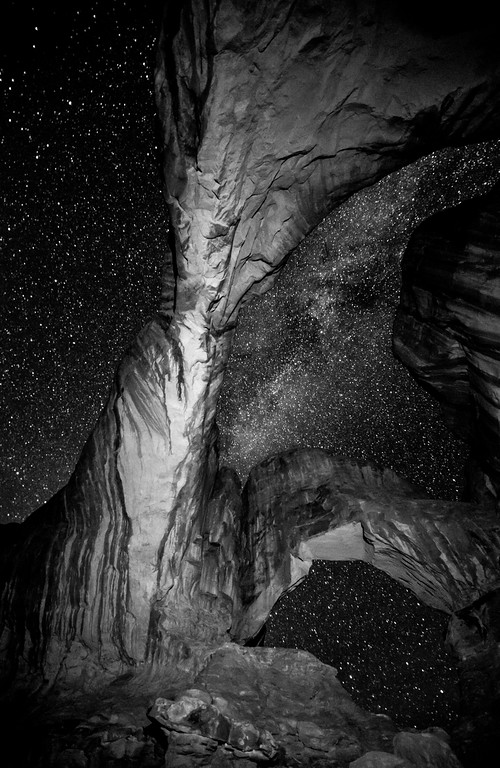 Double Arch and the Milky Way - Utah (B/W Version)