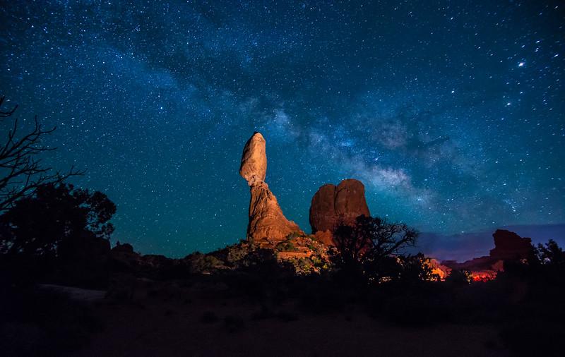 Balanced Rock And Milky Way At Night